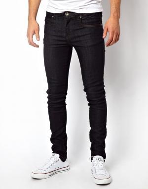 Dr Denim Темно-синие джинсы скинни из необработанного денима. Цвет: синий