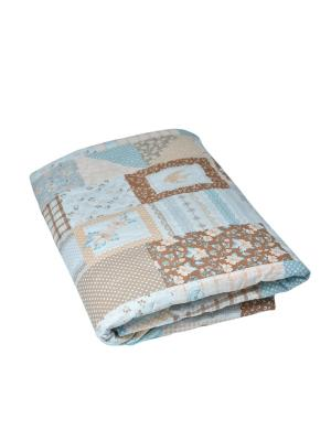 Одеяло-плед стеганный. Fresca Design. Цвет: серо-голубой, светло-коричневый, светло-серый