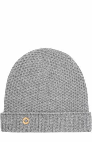 Кашемировая шапка фактурной вязки Loro Piana. Цвет: серый