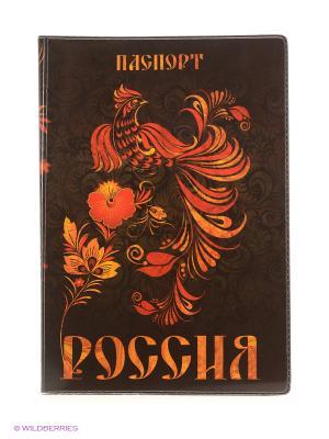 Обложка для паспорта Россия Хохлома А М Дизайн. Цвет: оранжевый, черный