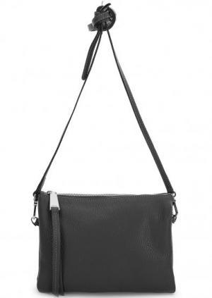 Кожаная сумка с тонким плечевым ремнем Abro. Цвет: черный