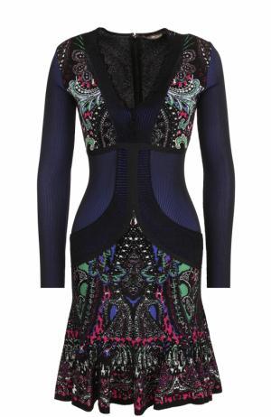 Приталенное мини-платье с принтом и длинным рукавом Roberto Cavalli. Цвет: черный