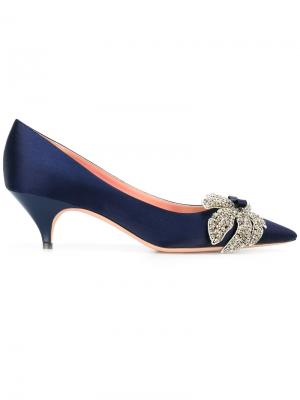 Туфли с кристаллами Rochas. Цвет: синий