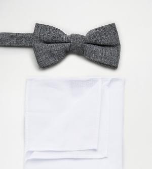 New Look Серый галстук-бабочка и белый платок-паше в наборе. Цвет: серый