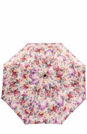 Складной зонт с цветочным принтом и декором на ручке Pasotti Ombrelli. Цвет: разноцветный