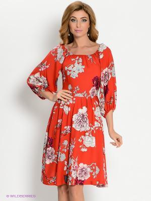 Платье MARY MEA. Цвет: коралловый