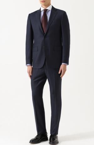 Шерстяной костюм с пиджаком на двух пуговицах Ermenegildo Zegna. Цвет: темно-синий
