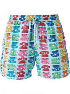 Плавательные шорты с узором в телефоны Capricode. Цвет: синий