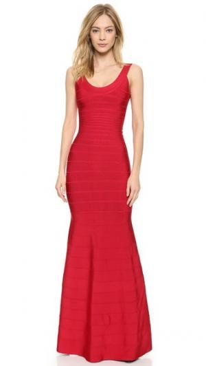 Вечернее платье Ellen Herve Leger. Цвет: красная помада