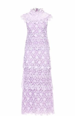 Кружевное платье-миди без рукавов Giamba. Цвет: лиловый