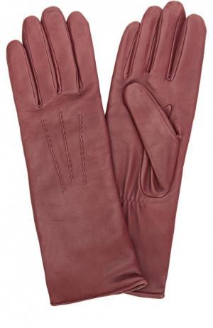 Кожаные перчатки с подкладкой из шерсти Agnelle. Цвет: бордовый