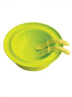 Тарелка 250 мл. с присоской вилкой и ложкой от 6 мес. LUBBY. Цвет: зеленый