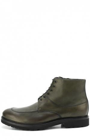 Кожаные ботинки с внутренней отделкой из овчины A. Testoni. Цвет: оливковый