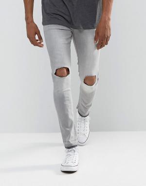 Brave Soul Серые рваные джинсы. Цвет: зеленый