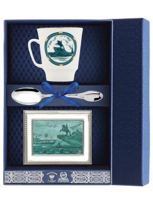 Набор чайный Майский СПб - Медный всадник (чашка+серебряная ложка+рамка д/фото) + футляр АргентА. Цвет: серебристый