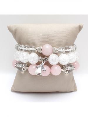 Комплект браслетов из натурального розового кварца, сахарного кварца и горного хрусталя Магазин. Цвет: серебристый, сиреневый, светло-серый, серый меланж, светло-бежевый, молочный, бледно-розовый, прозрачный, розовый, кремовый, белый