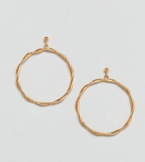 ASOS Серьги-кольца из позолоченного серебра. Цвет: золотой