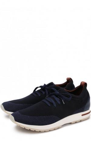 Текстильные кроссовки на шнуровке Loro Piana. Цвет: темно-синий