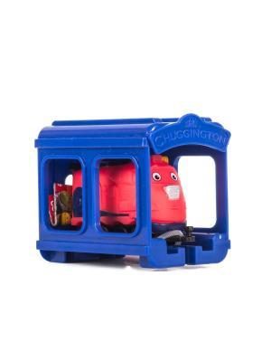Набор Паровозик Джекман с гаражом Chuggington. Цвет: синий, красный