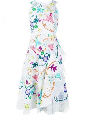 Платье со складками и цветочным узором Peter Pilotto. Цвет: белый