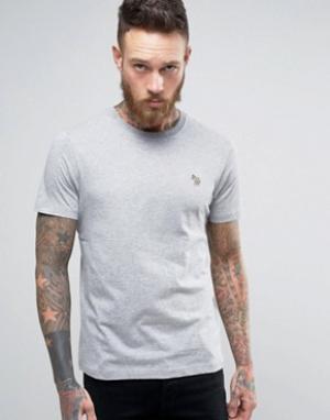 PS by Paul Smith Серая меланжевая узкая футболка с логотипом. Цвет: серый