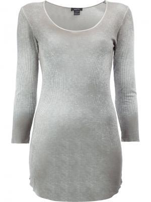 Удлиненная футболка с длинными рукавами Avant Toi. Цвет: серый