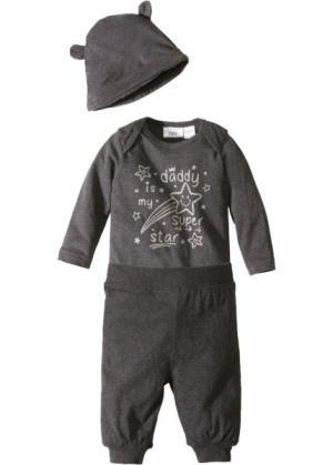 Для малышей: боди + трикотажные брюки шапочка (3 изд.), биохлопок (антрацитовый меланж) bonprix. Цвет: антрацитовый меланж