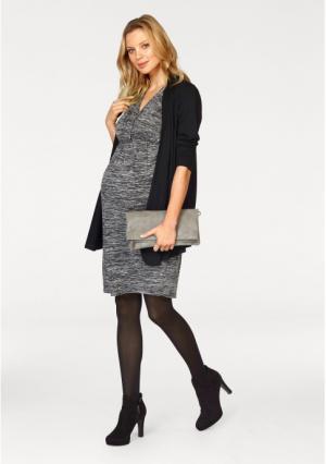 Комплект, 2 части: платье + кардиган Neun Monate. Цвет: черный+черный меланжевый
