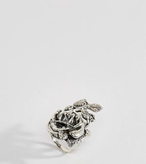 Rock 'N' Rose Серебряное кольцо с цветочным дизайном N. Цвет: серебряный