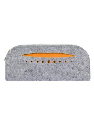 Косметичка фетровая с карманом IQ Format. Цвет: серый, оранжевый