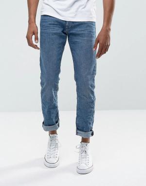 Esprit Синие прямые джинсы с выбеленным эффектом. Цвет: синий