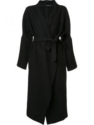 Удлиненное пальто с поясом Isabel Benenato. Цвет: чёрный