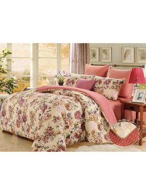 Комплект постельного белья, Бегония, 1.5 спальный KAZANOV.A.. Цвет: бежевый