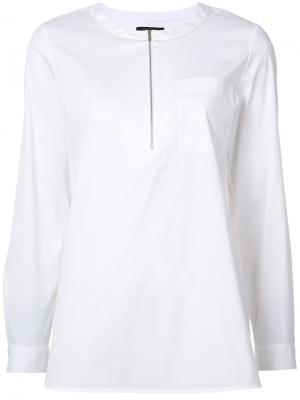Рубашка с застежкой на молнии Lafayette 148. Цвет: белый