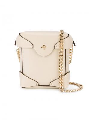 Микро-сумка через плечо Pristine Manu Atelier. Цвет: телесный