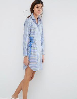 ASOS Платье-рубашка в полоску с корсетной отделкой. Цвет: мульти