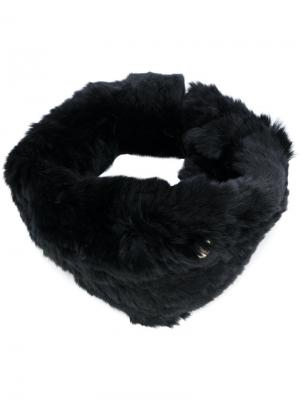 Меховой ободок для волос Yves Salomon Accessories. Цвет: чёрный