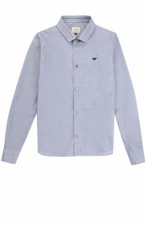 Хлопковая рубашка с логотипом бренда Armani Junior. Цвет: синий