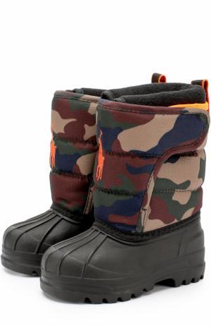 Резиновые сапоги с текстильной вставкой и логотипом бренда Polo Ralph Lauren. Цвет: хаки