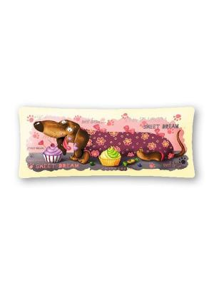 Гобеленовая наволочка БАЛОВНИ(такса кекс) 90х35 Рапира. Цвет: бежевый, розовый
