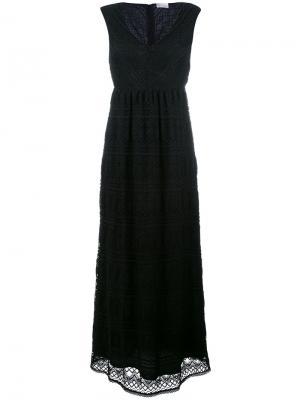 Длинное платье с V-образным вырезом Red Valentino. Цвет: чёрный
