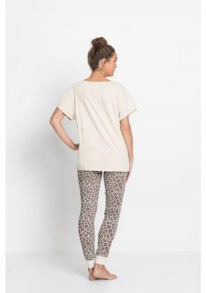 Пижама. Цвет: бежевый/коричневый с рисунком