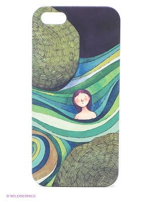 Чехол для IPhone 5 Девочка в зеленых волнах Mitya Veselkov. Цвет: синий, желтый, красный