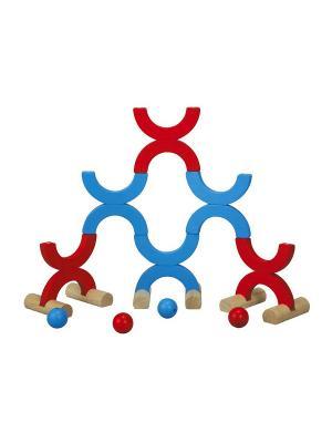 Игра в кегли и метания PLAN TOYS. Цвет: голубой, красный