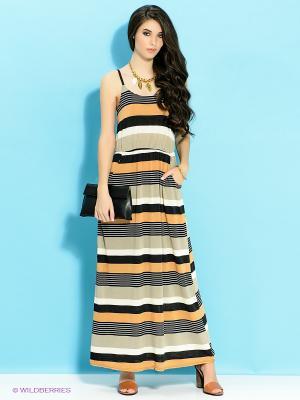 Платье Ada Gatti. Цвет: бежевый, горчичный, черный