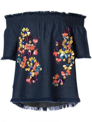 Блузка с цветочной отделкой Tanya Taylor. Цвет: синий