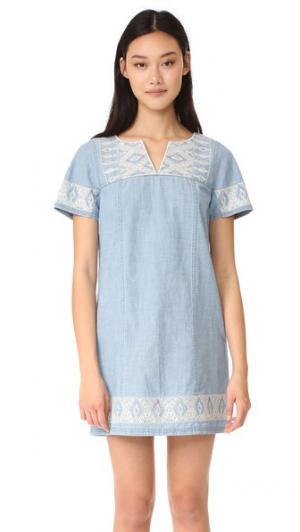 Платье-туника из ткани шамбре с вышивкой Madewell. Цвет: pina wash