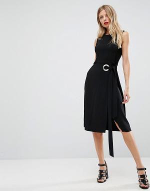 ASOS Платье без рукавов с большим люверсом и поясом. Цвет: черный