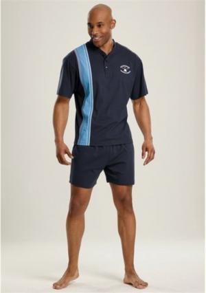 Пижама с шортами, 2 штуки LE JOGGER. Цвет: синий+темно-синий