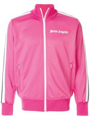 Свитер на молнии с логотипом Palm Angels. Цвет: розовый и фиолетовый